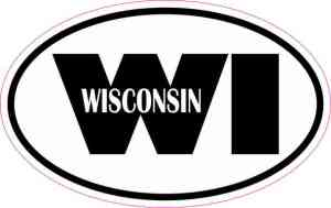 Oval WI Wisconsin Vinyl Sticker
