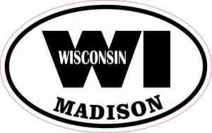 Oval WI Madison Wisconsin Sticker