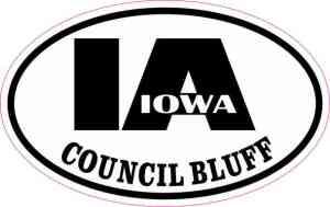 Oval IA Council Bluff Iowa Sticker