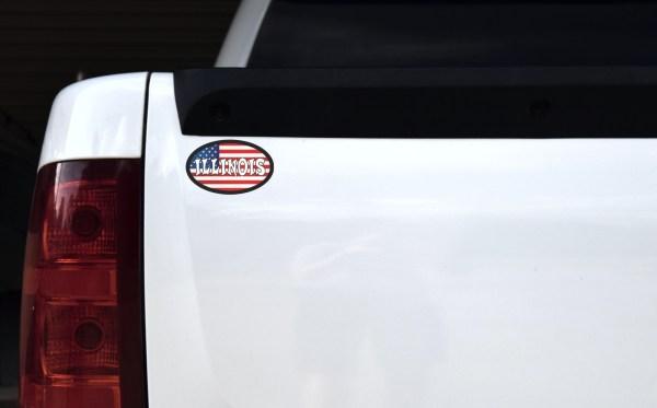 Oval US Flag Illinois Sticker