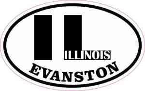 Oval IL Evanston Illinois Vinyl Sticker