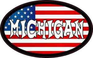 Oval US Flag Michigan Vinyl Sticker