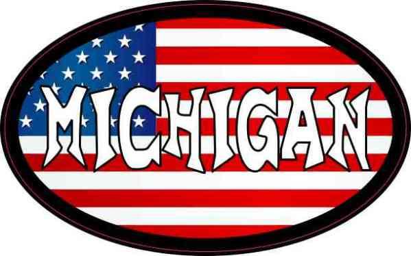 Oval US Flag Michigan Vinyl Sticker