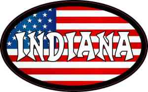 Oval American Flag Indiana Sticker