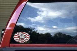 Maroon Chevron Proud Bulldog Sticker