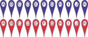 Blue and Red A-K Map Pointers