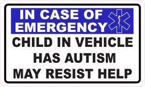 Star of Life Child in Vehicle Has Autism Magnet