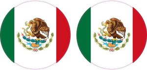 Circular Mexican Flag Vinyl Stickers