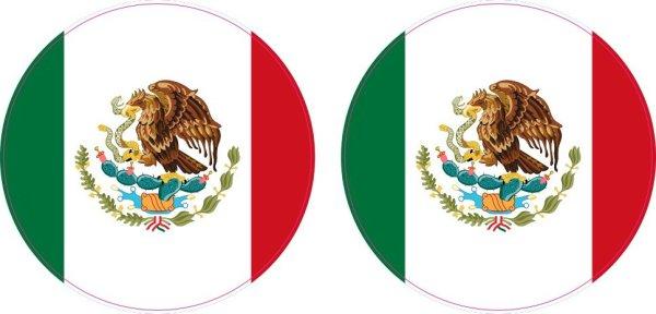 Circular Mexican Flag Vinyl Stickers