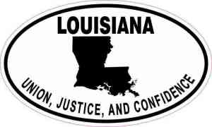 Oval Louisiana Motto Vinyl Sticker
