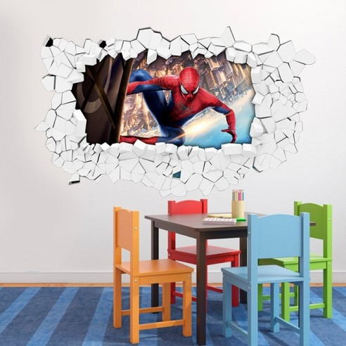 sticker mural 3d spiderman sticker autocollant trompe l oeil