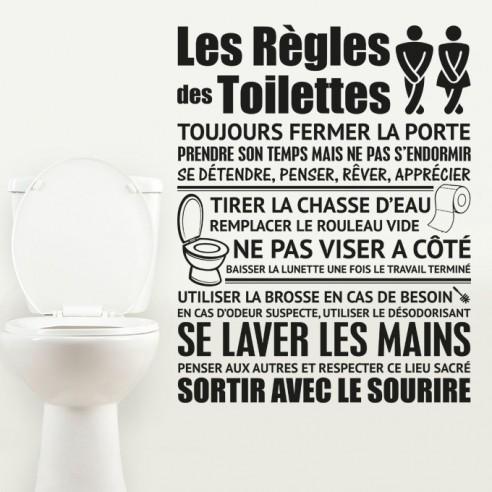 sticker les regles des toilettes stickers muraux toilettes wc