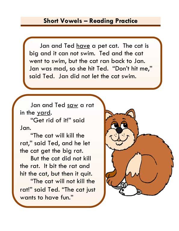 """Short Vowels Story """"Jan And Ted"""""""