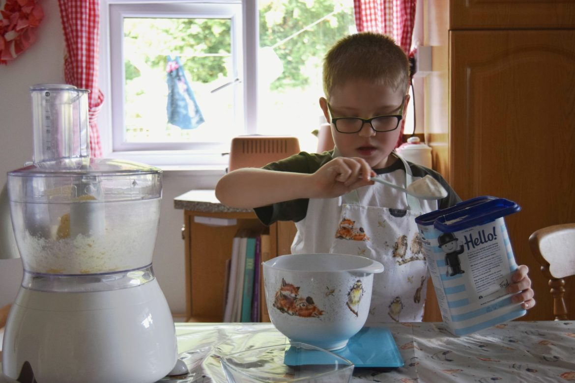 Kids mealtimes. Involving little one to help with the baking.