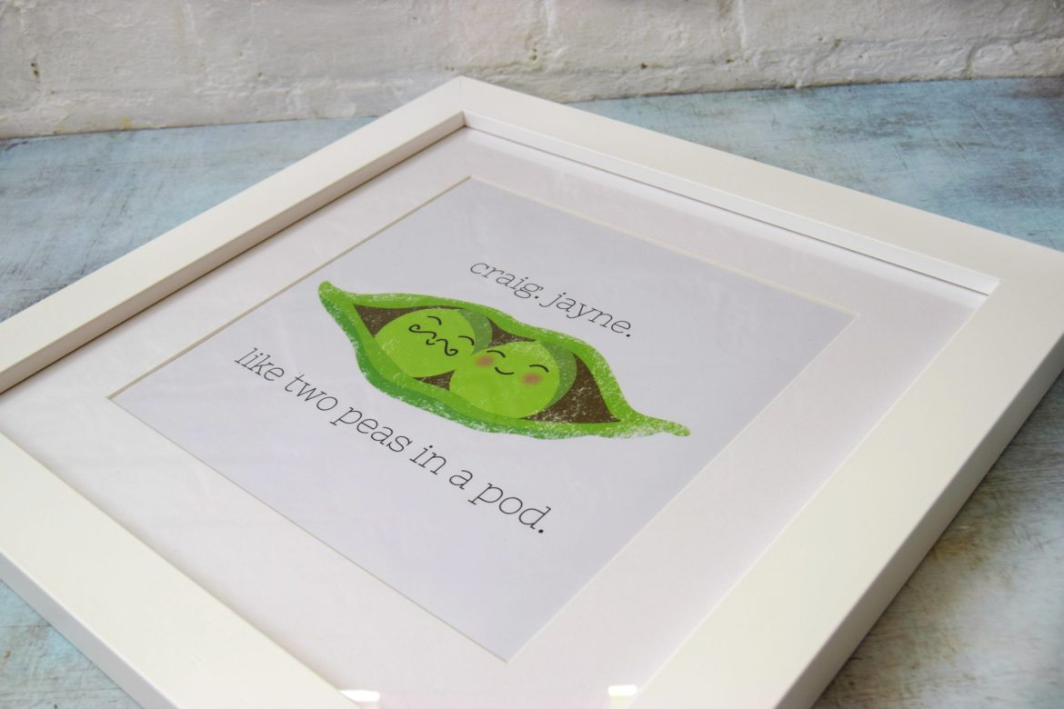 Two peas in a pod personalised framed print gift.