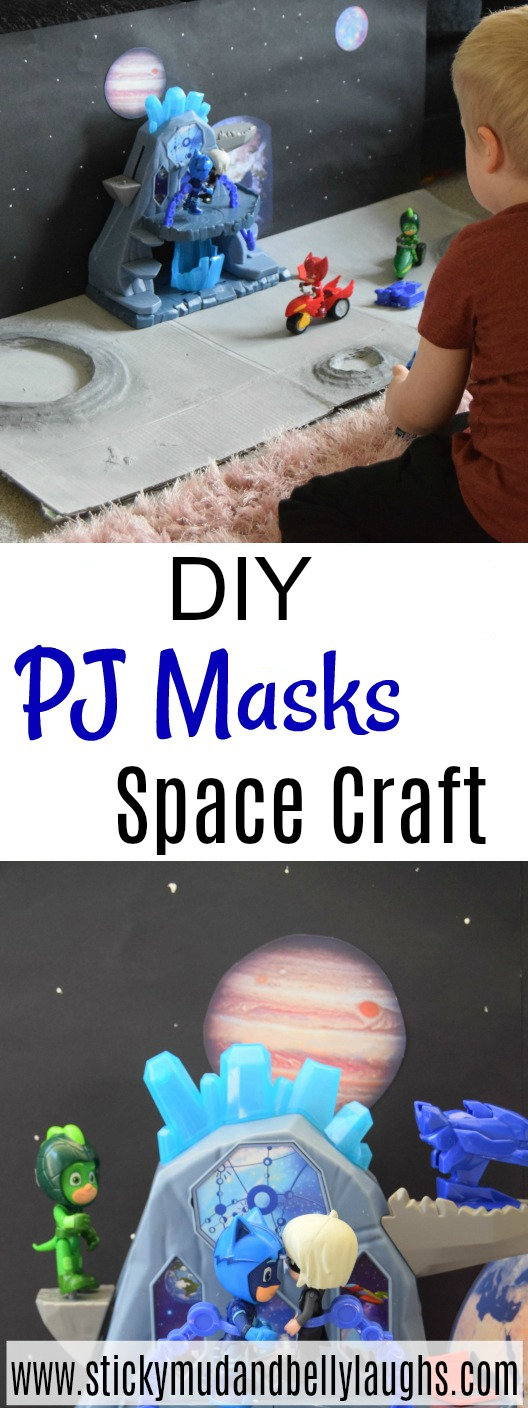 A fun PJ Masks craft for little fans! This is super easy to make and fab to pair up to the Pj Masks playsets. #crafts #spacecraft #pjmaskscrafts #easykidscrafts #imaginativeplay