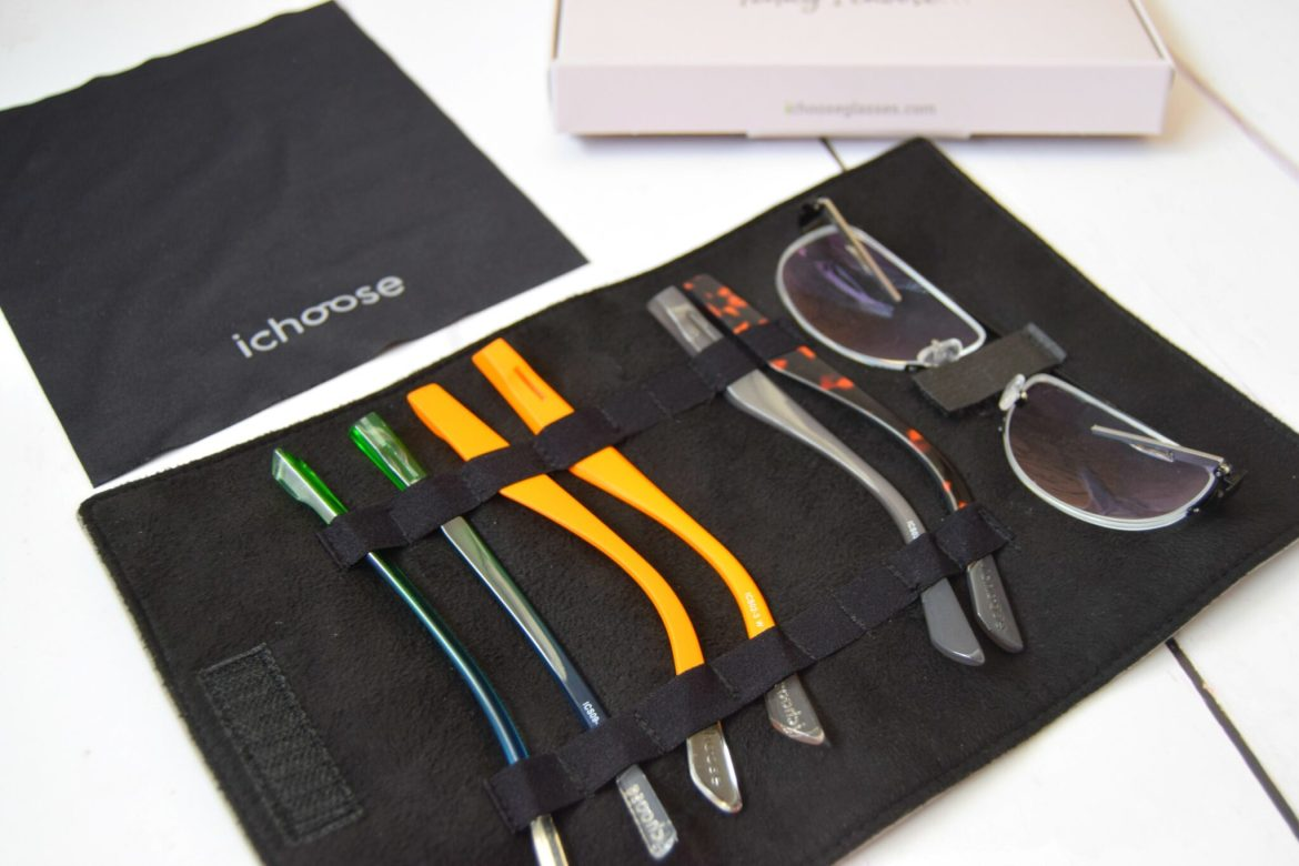 ichoose glasses. Interchangeable glasses with funky coloured sides.