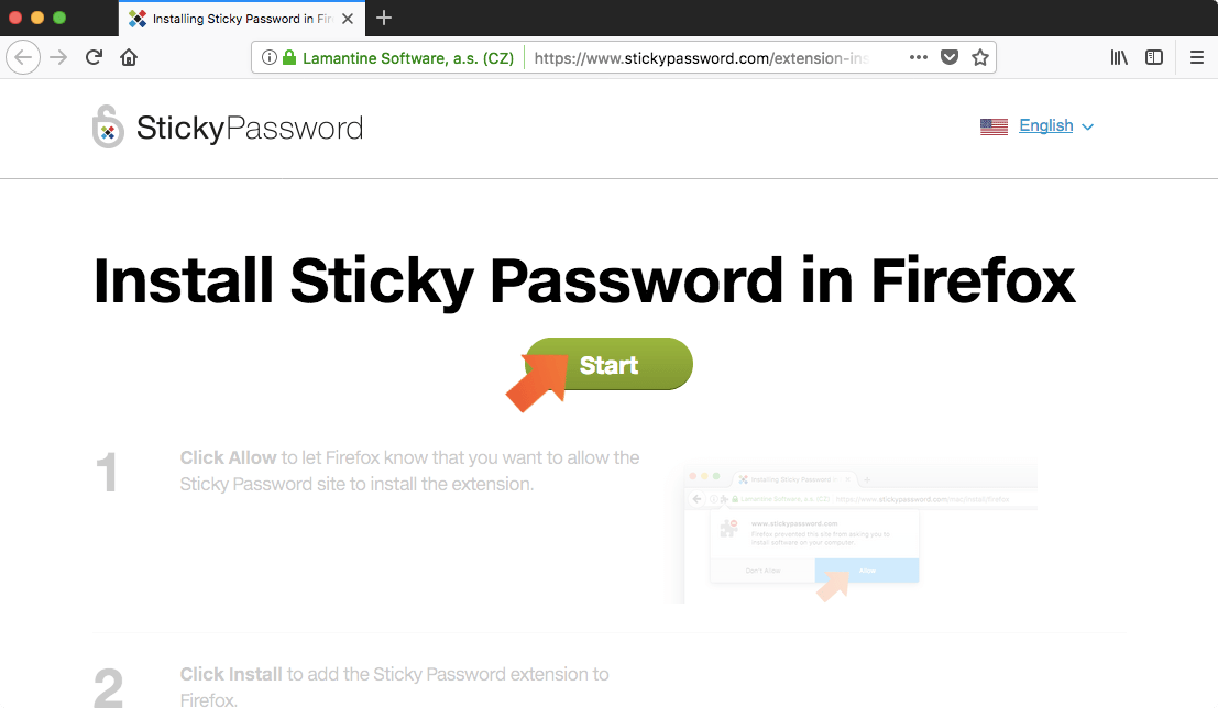 How to install the Sticky Password extension for Firefox