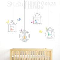 Cute Bird Cage Vinyl Wall Art Sticker - StickyThings.co.za