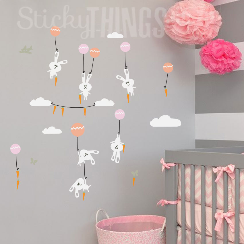 3d Vinyl Wallpaper Snow Bunnies Wall Art Sticker With Carrots Stickythings Co Za