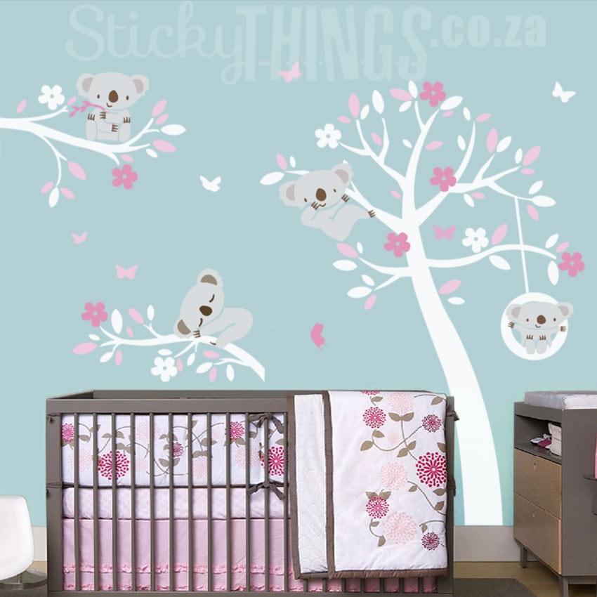 3d Vinyl Wallpaper Snow Koala Trees Wall Art Sticker Koala Wall Decal