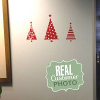 Red Festive Christmas Trees Wall Sticker - StickyThings ...