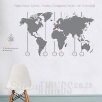 World Map Decal - World Map Wall Art - StickyThings.co.za ...