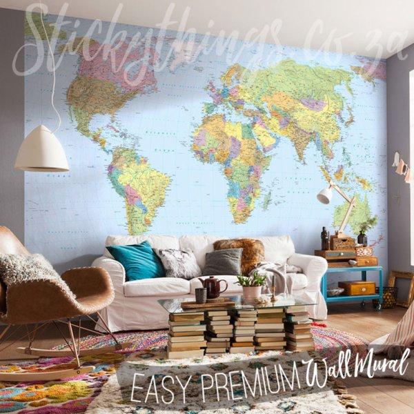 Giant World Map Wallpaper - Large Wall Art Stickythings