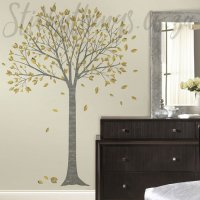 Silver Grey and Gold Tree Decal - Family Tree Wall Sticker ...