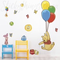 Winnie the Pooh Decal - Pooh & Piglet Balloons Giant Decal ...