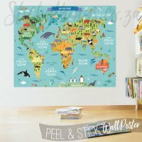 Childrens World Map Decal Poster - World Map Wall Sticker ...