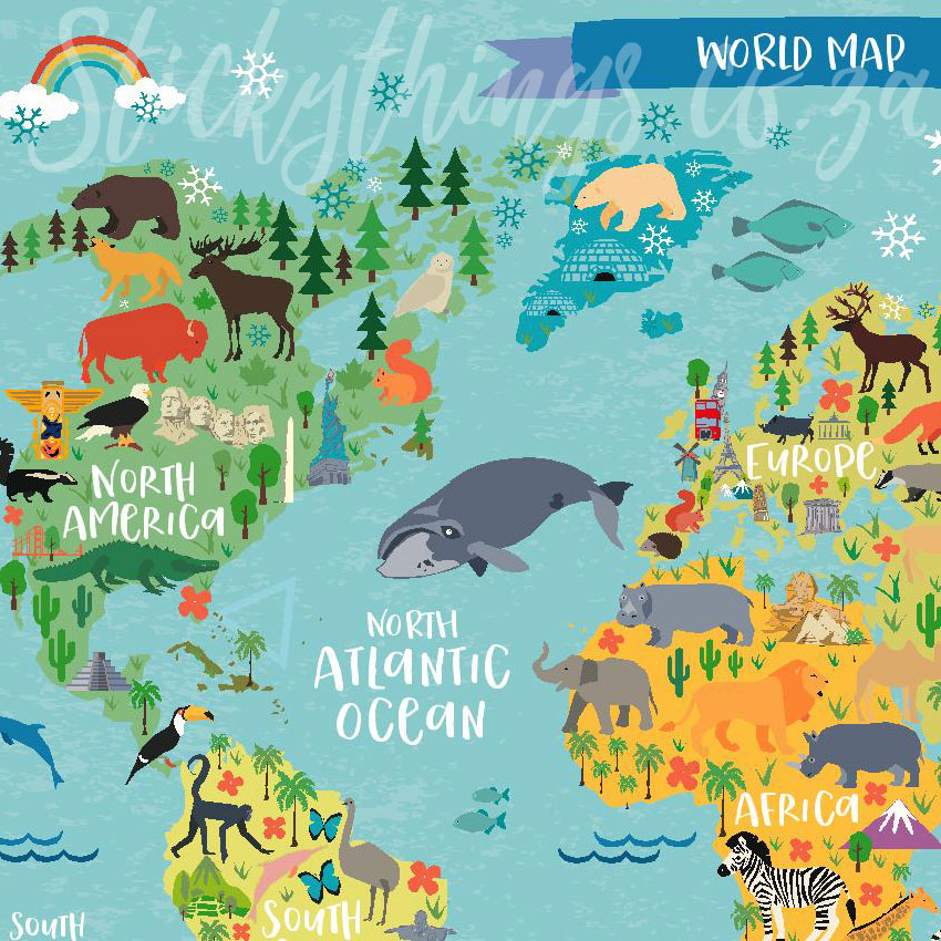 Childrens World Map Decal Poster