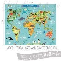 Childrens World Map Decal Poster - World Map Wall Sticker ...