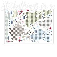 Modern World Map Wall Sticker - Travel the World Decal ...