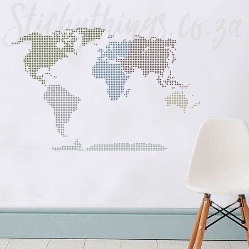 Modern World Map Wall Sticker
