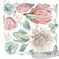 Oversized Floral Protea Wall Decals - Peel & Stick Protea ...