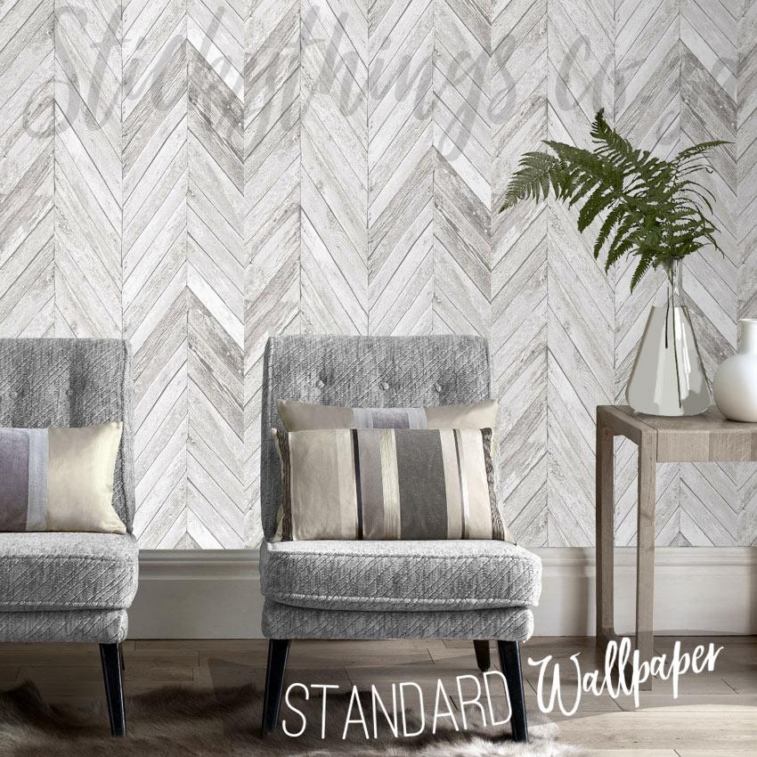 Wood Look Herringbone Wallpaper  Grey Chevron Wooden Wallpaper
