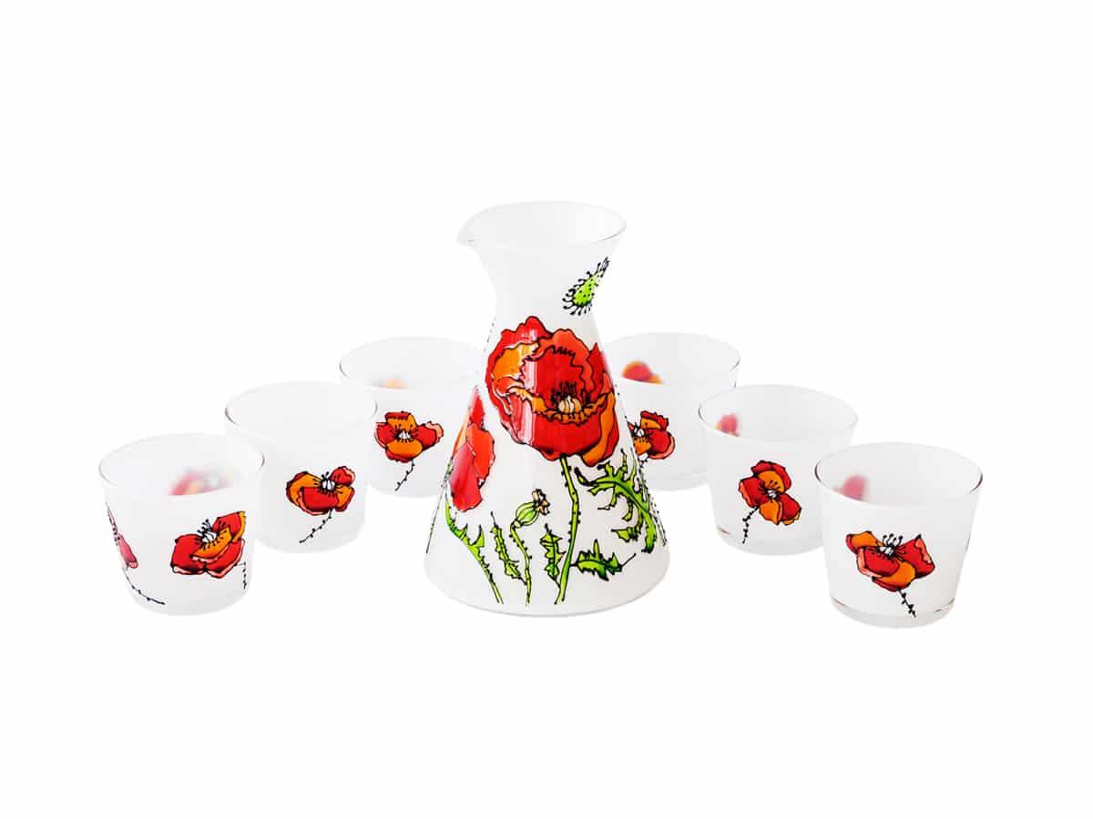 Set carafa si 6 pahare –  Colectia flori de mac