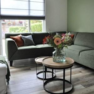 Binnenkijken in ... een woonkamer met een groene hoekbank in Nieuwegein na STIJLIDEE Interieuradvies, Kleuradvies en Styling