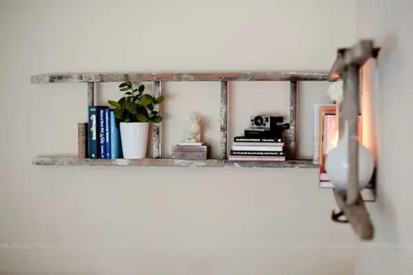 Houten Ladder Decoratie : Industrieel wandrek vintage decoratie antiroest industriele