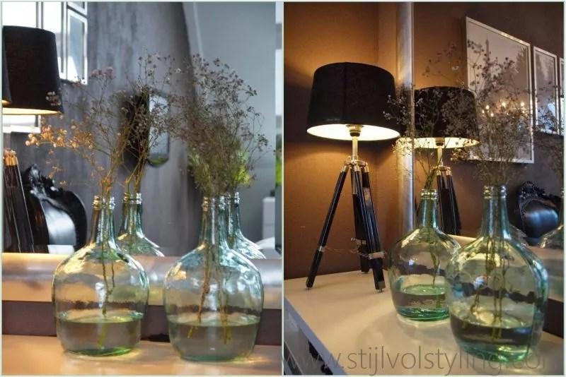 Interieurtrend  Vazen kruiken  flessen van gekleurd