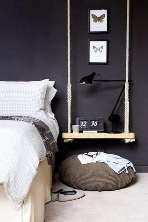 Nachtkastje Hangend Aan Bed.Interieur Diy Schommel Als Nachtkastje En Hangende Tafel