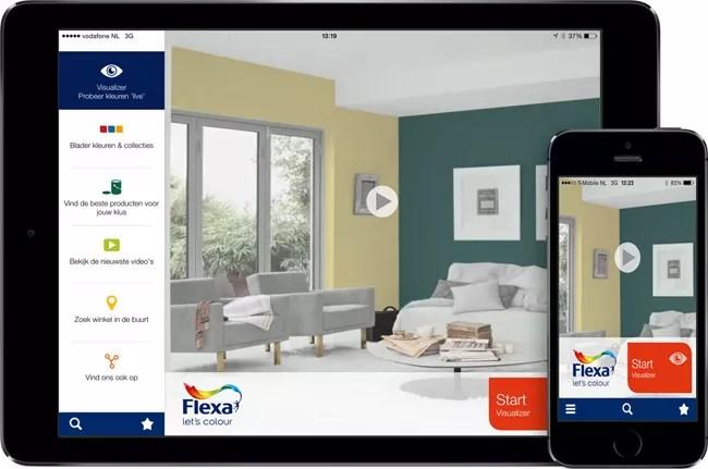 Kleur interieur de flexa visualizer app live for Huis inrichten app