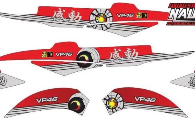Stiker Motor xeon rossi sun&moon kando japan red