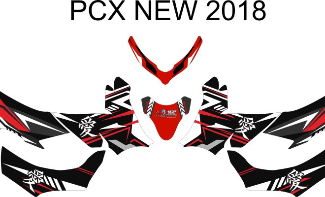 stiker motor all new pcx 150 kanji red
