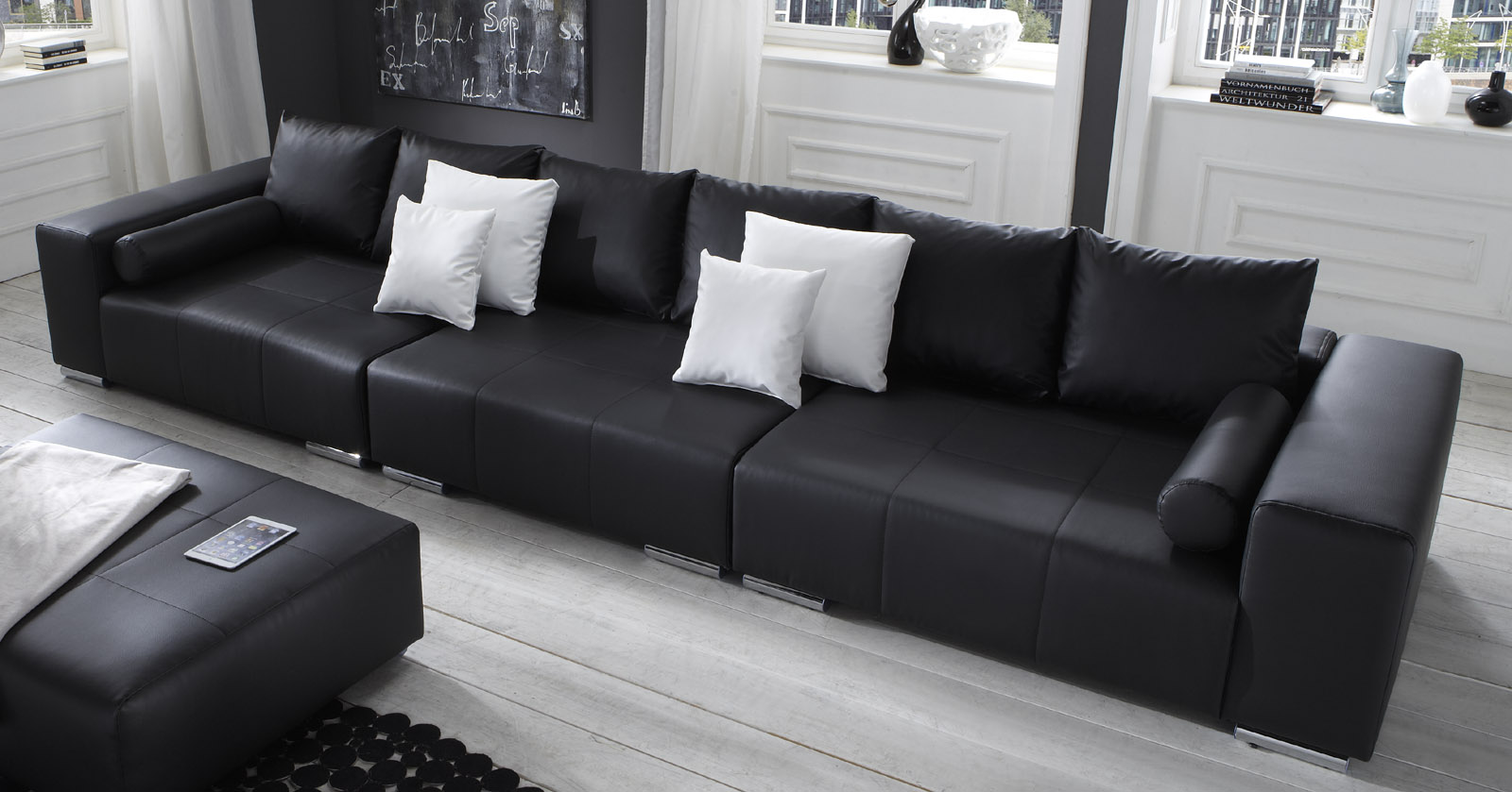 big sofa eckcouch outdoor contemporary wicker mit hocker cheap with cool