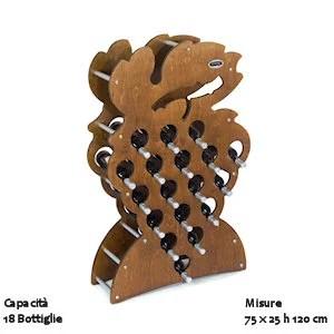Cantinetta Portabottiglie Sovrapponibile in legno Gradino