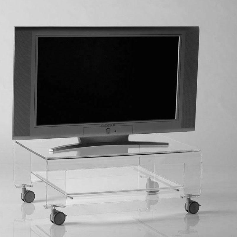 Tavolino Porta TV con ruote 75x52xh31 cm VERVE struttura in metacrilato trasparente e dettagli