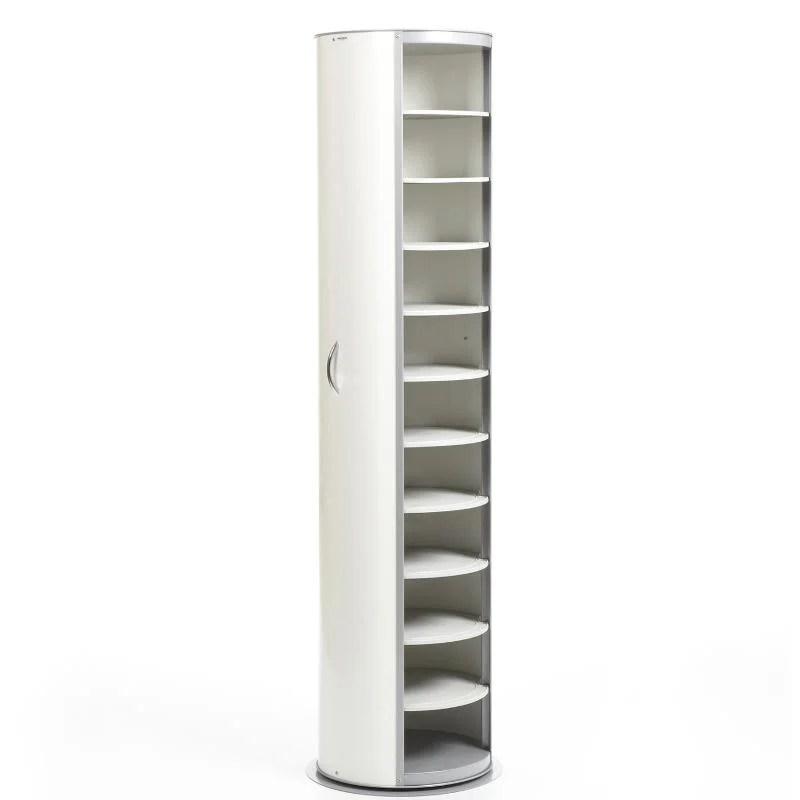 Scarpiera In Metallo Bianco laccato Lucido 40x40xh173 cm