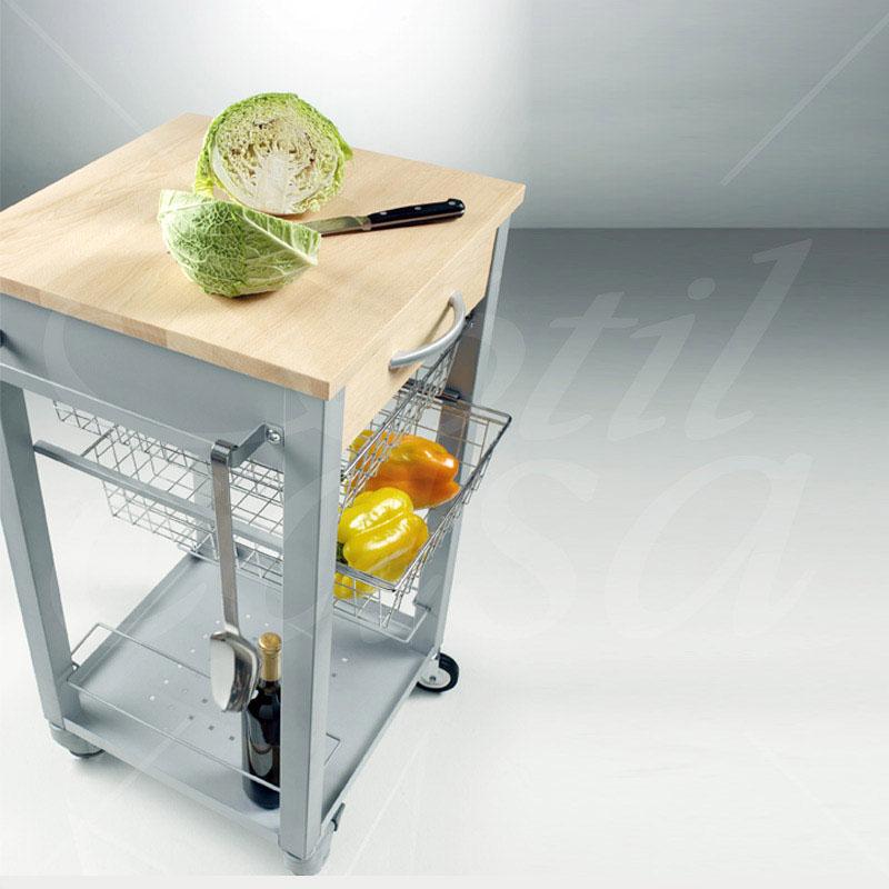 Carrello da Cucina con tagliere estraibile struttura in massello  Pezzani srl  StilcasaNet
